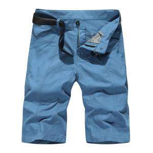 Straight Slim Fit Chino Shorts - Navy Blue - 38