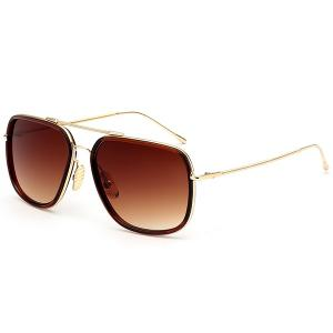 Ombre Long Metal Crossbar Anti UV Sunglasses - Transparent Tawny Frame + Tawny Mercury Lens