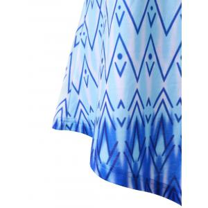 Plus Size Ombre Zigzag Asymmetric Tank Top - BLUE 5XL