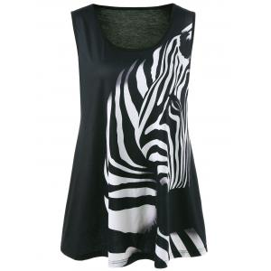 Zebra Animal Printed Plus Size Tank Top - Black - 5xl