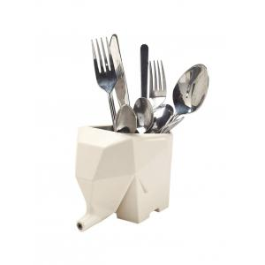 Kitchen Tool Plastic Multifunction Elephant Shape Cutlery Drainer - White
