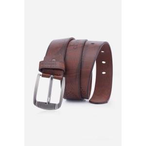 Artificial Leather Holes Embroidery Pin Buckle Belt - Coffee - L