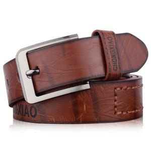 Hot Stamped Artificial Leather Letter Belt - Coffee - L