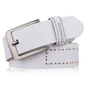Hot Stamped Artificial Leather Letter Belt - White - 120cm