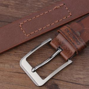 Hot Stamped Artificial Leather Letter Belt - BROWN
