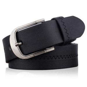 Embroidered Fake Leather Pin Buckle Belt - Black