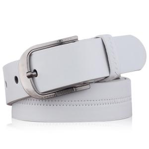 Embroidered Fake Leather Pin Buckle Belt - White - 120cm