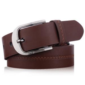 Embroidered Fake Leather Pin Buckle Belt - Coffee - L