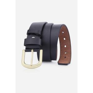 Rectangular Metallic Pin Buckle Fake Leather Belt
