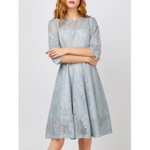 Leaves Semi Sheer A Line Modest Dress
