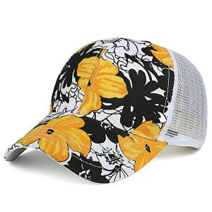 Mesh Splicing Hand Painting Flowers Baseball Cap
