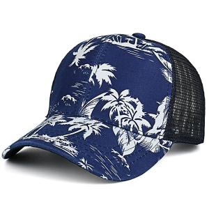 Mesh Splicing Coconut Trees Hawaiian Print Hat - Deep Blue - S