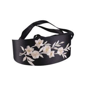 Chinoiserie Banded Retro Blossom Embroidered Corset Belt - Off-white - 2xl
