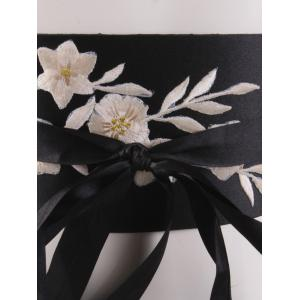 Chinoiserie Banded Retro Blossom Embroidered Corset Belt - OFF WHITE