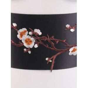 Banded Flowers Branch Embroidered Chinoiserie Corset Belt -