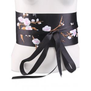 Banded Flowers Branch Embroidered Chinoiserie Corset Belt