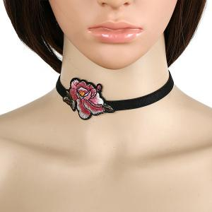 Oriental Rose Embroidery Choker - Black