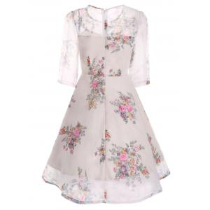 Semi Sheer Floral Print Flare Organza Dress -