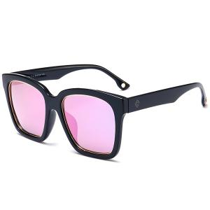 Reflective Wide Frame Mirrored Wayfarer Sunglasses - Black Frame + Purple Lens