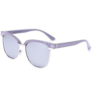 Reflective Mirror Metal Splicing Frame Sunglasses - Transparent Grey Frame + Grey Lens