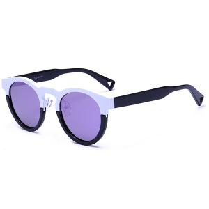 Mirrored Hollow Out Leg Reflective Sunglasses - Black Frame + Purple Lens
