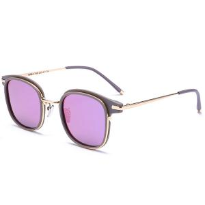Reflective Mirrored Metallic Frame Splicing Sunglasses - Purple
