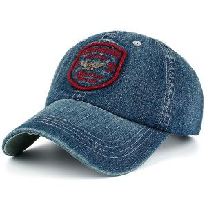Letters Badge Patchwork Denim Baseball Hat - Red - S