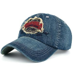 Letters Patchwork Embroidery Denim Baseball Hat - Red - S