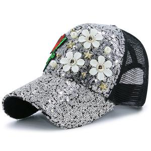 Sequin Faux Pearl Stars Flower Embroidery Hat - Silver And Black - 130cm