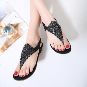 Stitching Faux Leather Rhinestones Sandals - BLACK 38
