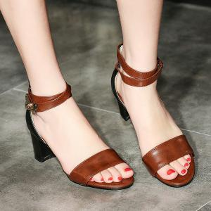 Mid Heel Colour Block Sandals -