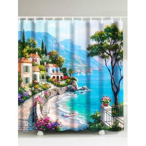Oil Painting Sea Coast Landscape Shower Curtain - Lake Blue - W71inch * L79inch