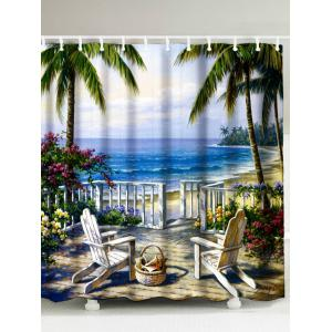 Oil Painting Beach Sea Landscape Shower Curtain - Blue - W71inch * L79inch
