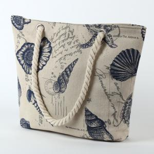Canvas Seashell Print Beach Bag -