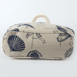 Canvas Seashell Print Beach Bag - OFF WHITE