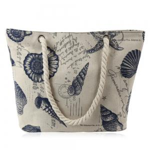 Canvas Seashell Print Beach Bag - Off-white - M