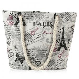 Printed Canvas Rope Beach Bag - Off-white