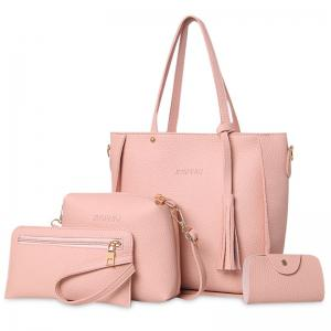 Tassel 4 Pieces Tote Bag Set - Pink