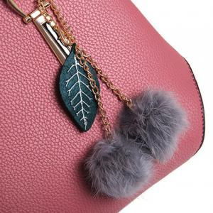 Pompon Pendant 3 Pieces Handbag Set -