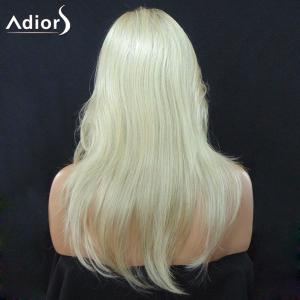 Adiors Long Side Part Colormix Slightly Curled Synthetic Wig - GRADUAL YELLOW