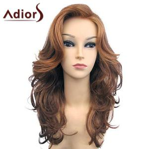 Adiors Long Side Part Shaggy Wavy Synthetic Wig - Gold Brown