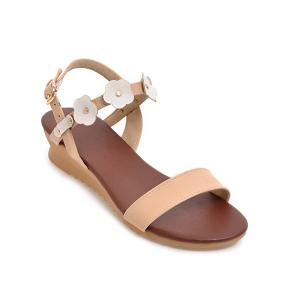 Wedge Heel Flowers Sandals - White - 39