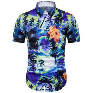 Tie Dye Trees Print Cover Placket Hawaiian Shirt - Blue - Xl