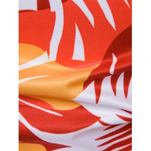 Ombre Leaves Print Cover Placket Hawaiian Shirt - Tangerine M