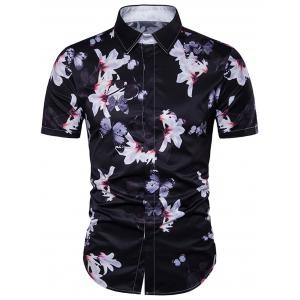 Papillon Floral Print Cover Placket Hawaiian Shirt
