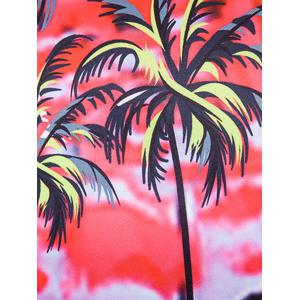 Tie Dye Floral Print Cover Placket Hawaiian Shirt - RED 2XL