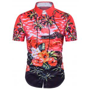 Tie Dye Floral Print Cover Placket Hawaiian Shirt - Red - L
