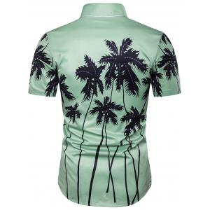 Copie d'impression de cocotier Placket Hawaiian Shirt - Vert M