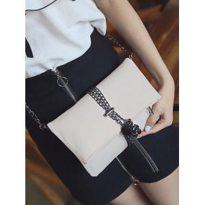 Fold Down Chains Tassel Crossbody Bag - WHITE