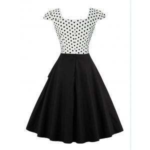 Cap Polka Dot Corset Vintage Dress - WHITE XL